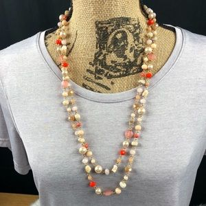 Double strand necklace with matching earrings